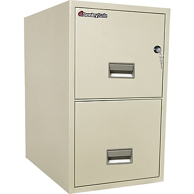 Sentry® Safe 2-Drawer, Letter Size, Fire, Water & Impact Resistant, Putty, Dock to Dock