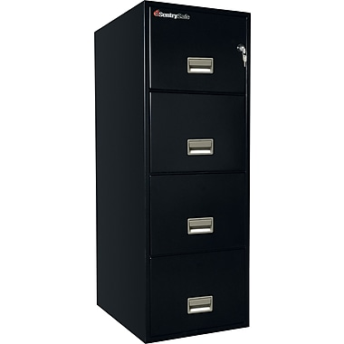 Sentry® 1-Hour Fire File, 4-Drawer, Legal, Fire, Water & Impact Resistant, Black, Dock to Dock
