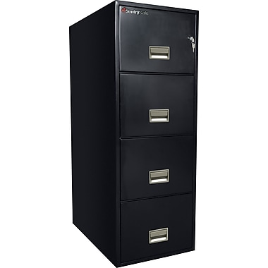 Sentry® 1-Hour Fire File,4-Drawer, Legal, Fire, Water & Impact Resistant, Black, Dock to Dock