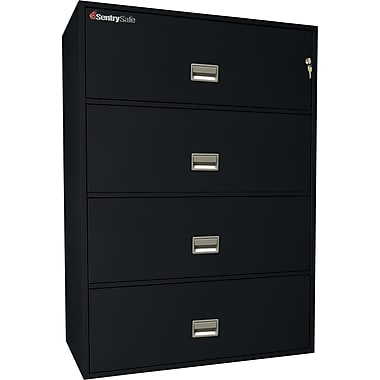 Sentry® 1-Hour Fire File, 4-Drawer, Fire & Impact Resistant, Black, Dock to Dock