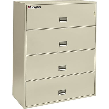 "Sentry®Safe 1-Hour Fire File Cabinet 43"", 4-Drawer, Fire & Impact Resistant Lateral Files, Putty"