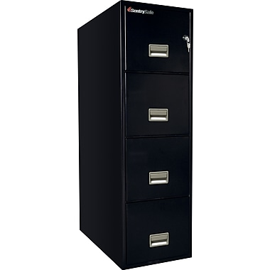 Sentry® 1-Hour Fire File, 4-Drawer, Letter, Fire, Water & Impact Resistant, Black, Dock to Dock