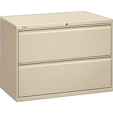HON Brigade 800 Series Lateral File Cabinet, 42in. Wide, 2-Drawer, Putty