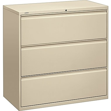 HON Brigade 800 Series Lateral File Cabinet, 42in. Wide, 3-Drawer, Putty