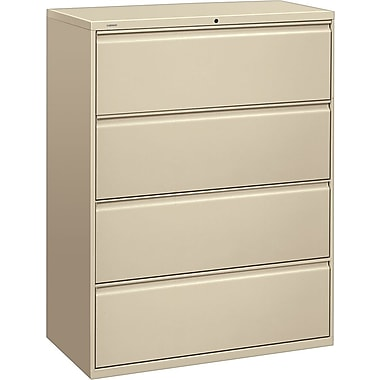 HON® Brigade 800 Series Lateral File Cabinet, 42in. Wide, 4-Drawer, Putty