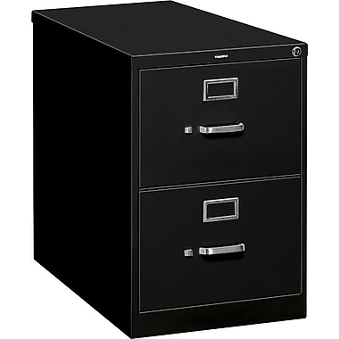 HON S380 Series Vertical File Cabinet, 26 1/2in. 2-Drawer, Legal Size, Black