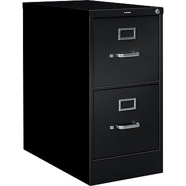 HON S380 Series Vertical File Cabinet, 26 1/2in. 2-Drawer, Letter Size, Black