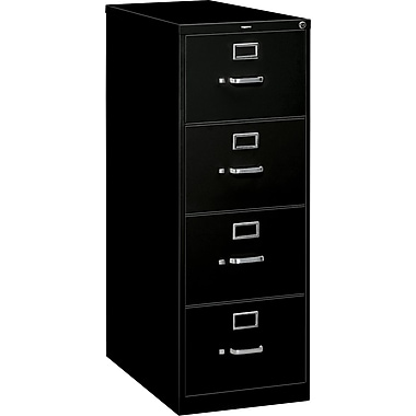 HON S380 Series Vertical File Cabinet, 26 1/2in. 4-Drawer, Legal Size, Black