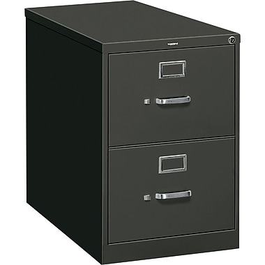 HON 310 Series Vertical File Cabinet, 26 1/2in. 2-Drawer, Legal Size,  Black