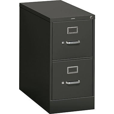HON 310 Series Vertical File Cabinet, 26 1/2in. 2-Drawer, Letter Size,  Black