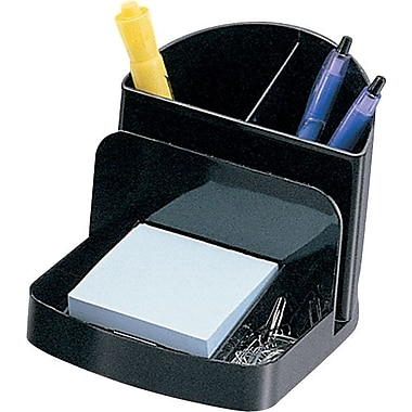 Staples® Black Plastic Desk Collection, (Recycled) Deluxe Desk Organizer