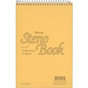 "Ampad Steno Book, White, 6"" x 9"", Gregg Rule, 70 sheets"
