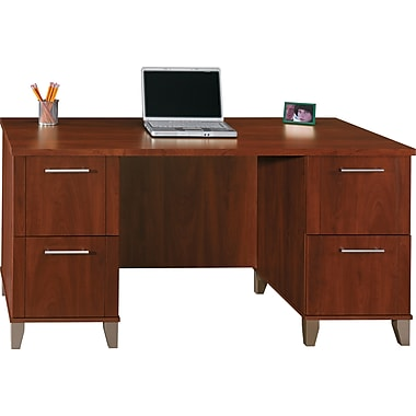 Bush Somerset 60in. Double-Pedestal Desk, Hansen Cherry