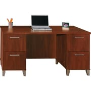 Bush Somerset 60 Double-Pedestal Desk, Hansen Cherry