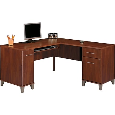 Bush Somerset 60in. Compact L-Desk, Hansen Cherry Finish