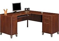 Bush Somerset 60' L-Desk, Maple Cross or Hansen Cherry