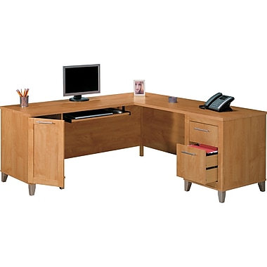 Somerset 71in. L-Desk, Maple Cross