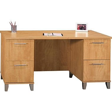 Bush Somerset 60in. Double Pedestal Desk, Maple Cross Finish