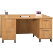 Bush Somerset 60 Double Pedestal Desk, Maple Cross