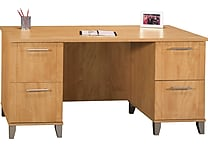 Bush Somerset 60' Double Pedestal Desk, Maple Cross or Hansen Cherry