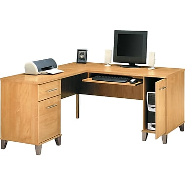 Bush Somerset 60in. L-Desk, Maple Cross