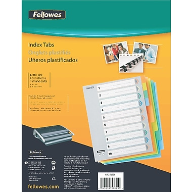 Fellowes 10-Tab Vinyl Index Tabs