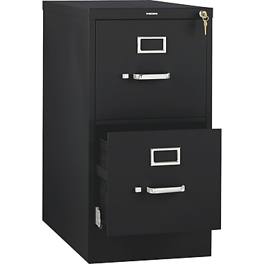 HON 510 Series Vertical File Cabinet, 25in. 2-Drawer, Letter Size, Black