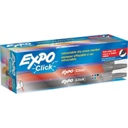 Expo® Click Dry-Erase Markers, Fine Tip, Assorted Colors, Dozen