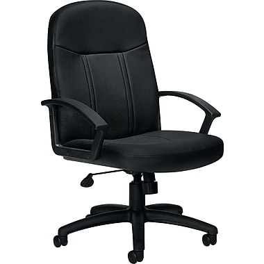 Global® High-Back Luxhide Bonded Leather Managers Chair , Black