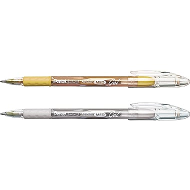 Pentel® Sunburst™ Metallic Gel-Ink Pens, Medium Point, Silver and Gold, 2/Pack