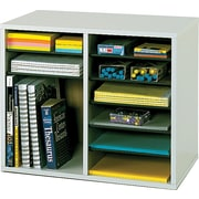 "Safco Wood Adjustable Literature Organizer, 12 Compartments, Gray, 16 1/8""H x 19 5/8""W x 11 7/8""D"