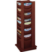 "Safco Solid Wood Rotating Display, 48 Pockets, Mahogany, 49 1/5""H x 17 3/4""W x 17 3/4""D"