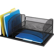 "Safco® Onyx Metal Mesh 3-Horizontal/3-Upright Section Organizer, Black, 8.25"" H X 11.5"" D X 19.5"" W (3254BL)"