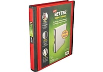 1' Staples® Better® View Binder with D-Rings, Red