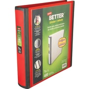 1-1/2 Staples® Better® View Binders with D-Rings, Red