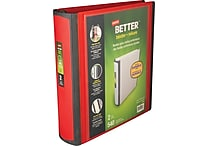 Staples Better Heavy-Duty Nonstick 2-Inch D 3-Ring View Binder, Red (18368)