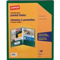 Staples 2-Pocket Laminated Folders, Green, 10/Pack