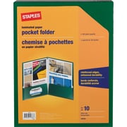 Staples® 2-Pocket Laminated Folders, Green, 10/Pack