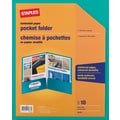 Staples 2-Pocket Laminated Folders, Teal, 10/Pack