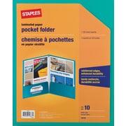 Staples® 2-Pocket Laminated Folders, Teal, 10/Pack