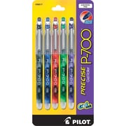 Pilot Precise® P700 Gel-Ink Rolling Ball Pens, Fine Point 0.7mm, Assorted, 5/Pack