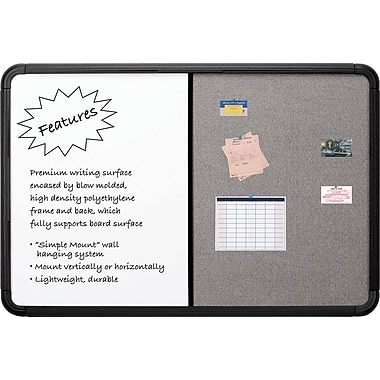 Combo Dry Erase/Fabric Board, Blow Mold Frame, 66
