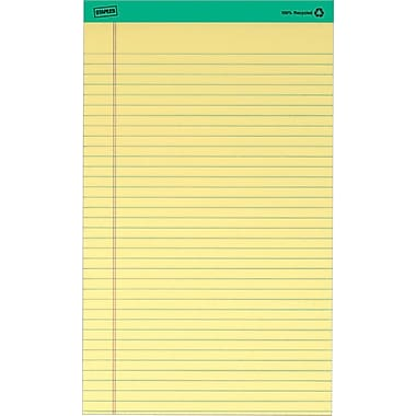 Staples 100% Recycled 8-1/2in. x 14in., Canary, Perforated Writing Pads, Wide Ruled, 12/Pack