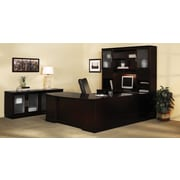 "Mayline Sorrento™ Series Executive ""U"" Desk with Pedestal, Bridge and Credenza, Espresso, 29 1/2""H x 72""W x 111""D"