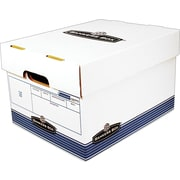 """Fellowes Bankers Box® R-KIVE® O/S™ Storage Boxes, Letter/Legal, Stacking Strength 800 lb., White/Blue, 10""""H x 12""""W x 15""""D, 20/Ct"""