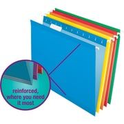 Staples® Colored Reinforced Hanging File Folders, Letter, 5 Tab, Assorted, 25/Box