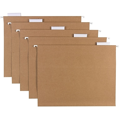Sustainable Earth Brand by Staples® Hanging File Folders, 5-Tab Letter, Natural Brown, 25/Box (16907)
