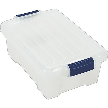 Staples® 3 Gallon Tote, Clear Base, Clear Lid, Navy Buckles