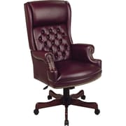 Office Star™ Burgundy Traditional Closed Arm Executive Chair with Mahogany  Finish