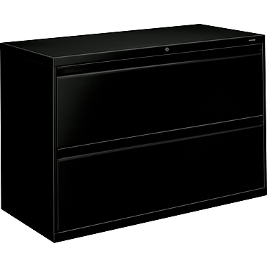 HON Brigade 800 Series Lateral File Cabinet, 42in. Wide, 2-Drawer, Black